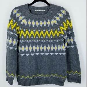 ZARA Knit Long Sleeve Gray/Yellow Sweater